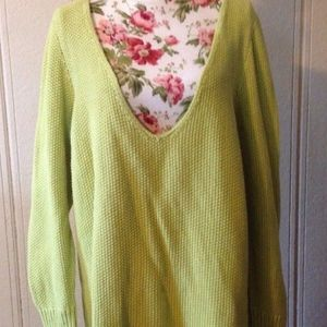 Lane Bryant Womens V-Neck Sweater  Green